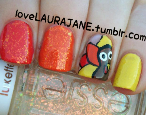 Thanksgiving nails yellow red orange turkey