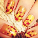Thanksgiving yellow dotted fall nails