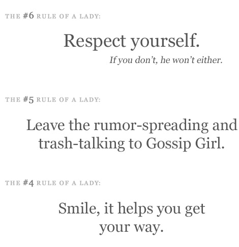 The rules of a Lady