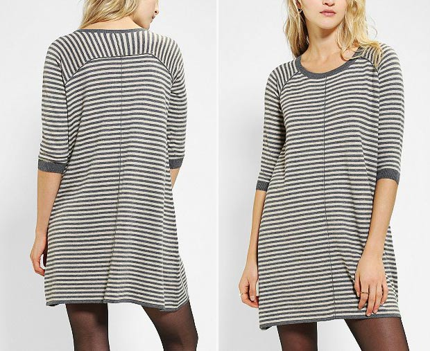 thin stripes sweater trapeze dress