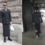 Thom Browne men skirt suit street