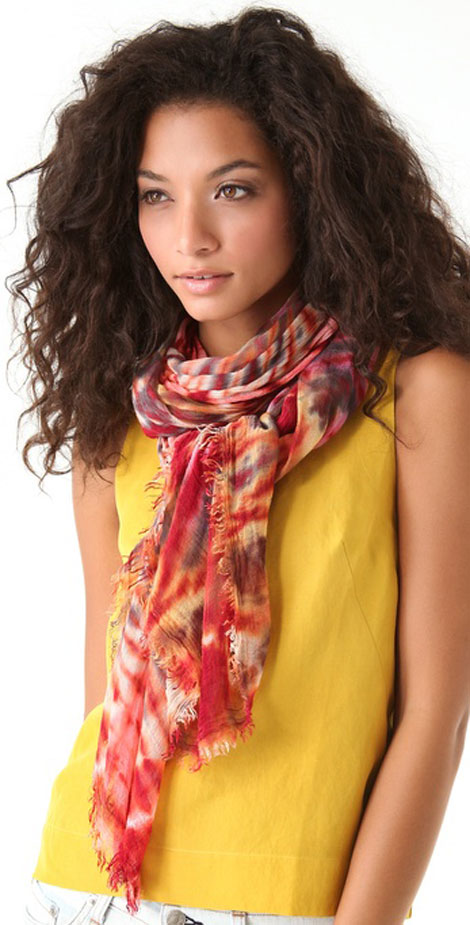 tie dye brightly twisted scarves