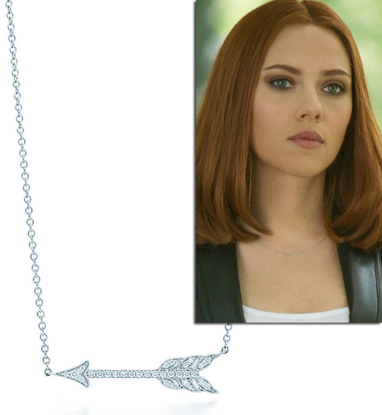 Tiffany Hearts Arrow pendant worn in Captain America by Natasha Romanoff