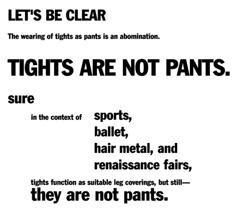 Tights are not pants plea