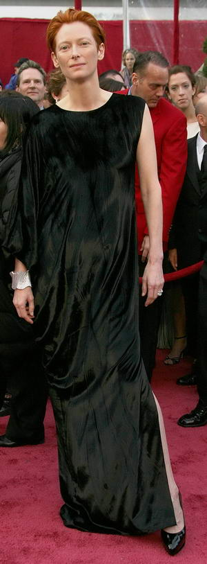 Tilda Swinton Black Dress on the 80th Academy Award Red Carpet