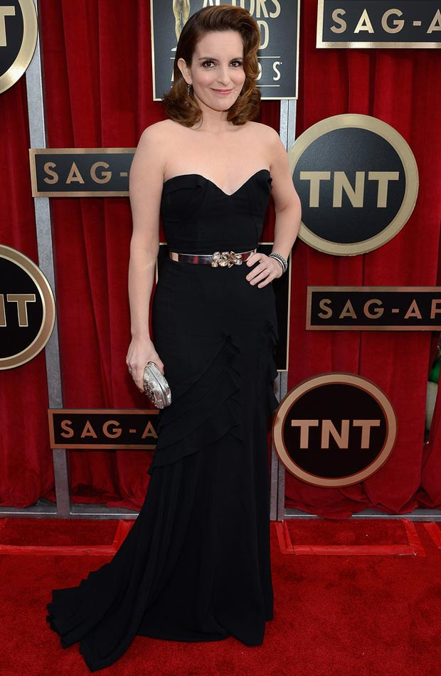 Tina Fey black ODLRenta dress 2013 SAG Awards winner