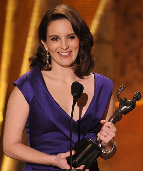 Tina Fey blue Ferragamo dress 2010 SAG Awards 1