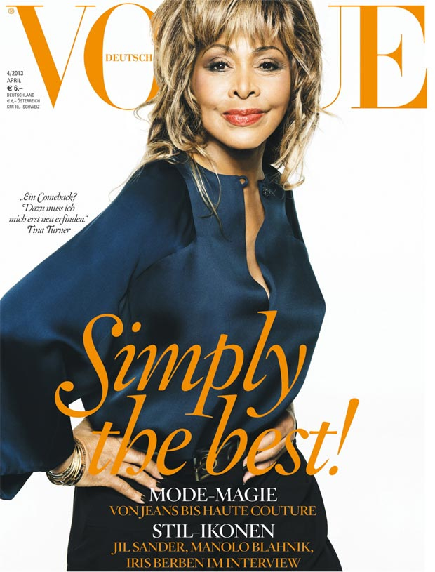 Tina Turner covers Vogue Germany April 2013 in Armani