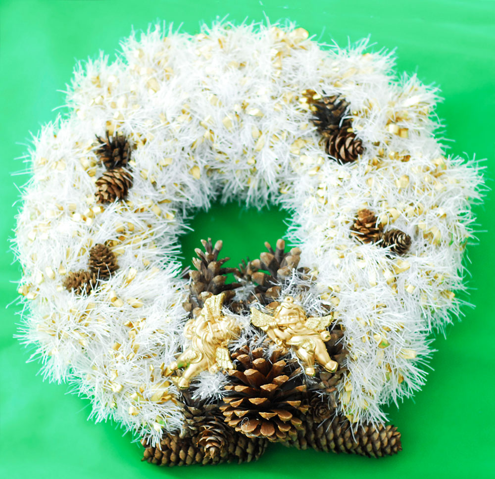tinsel pinecones angels diy christmas wreath