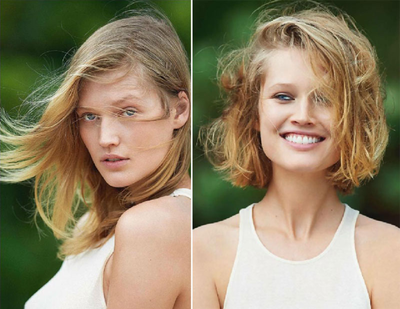 Toni Garrn new haircut Vogue before after