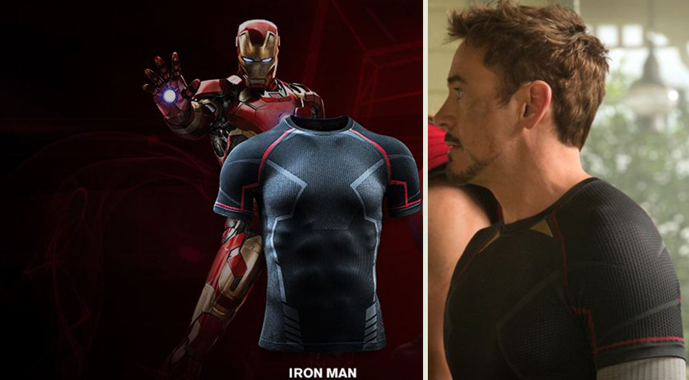 Tony Stark Iron Man Under Armour tshirt Avengers 2 Age of Ultron