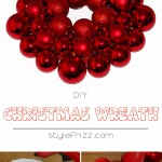 tutorial how to craft Christmas wreath red baubles