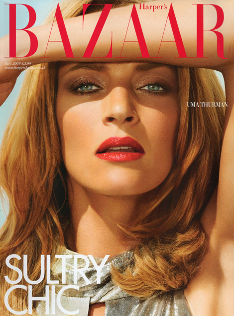 Uma Thurman Harper s Bazaar July 2009 cover