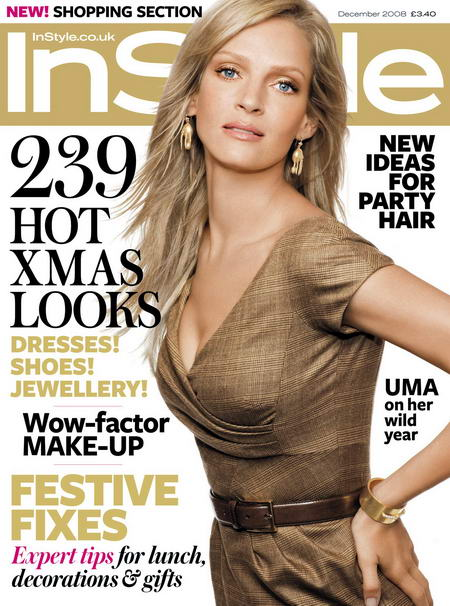 Uma Thurman InStyle UK December 2008 cover