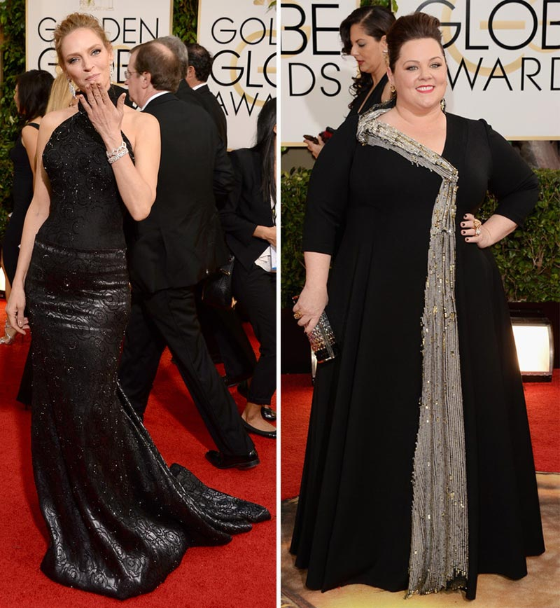 Uma Thurman Melissa McCarthy black dresses 2014 Golden Globes