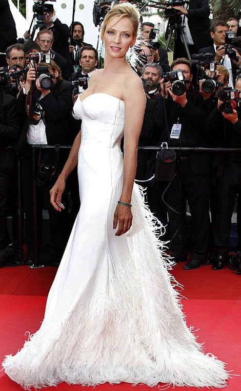 Uma Thurman white Versace dress Cannes Red Carpet