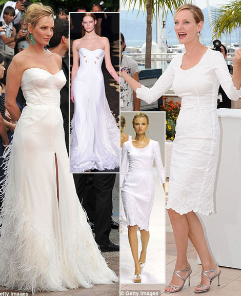 Uma Thurman's White Dresses For Cannes 2011. Dolce & Gabbana And Versace