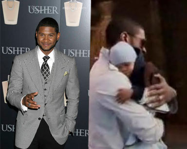 Usher Fragrance Launch and Usher with his Son