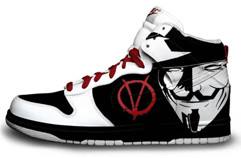 V for Vendetta hand painted sneakers