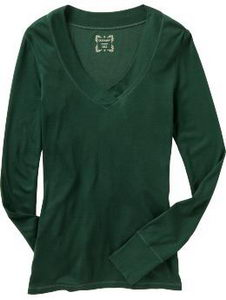 v neck long sleeve green tee shirt old navy