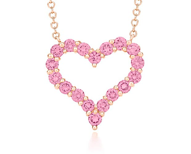 Valentine s day gifts ideas pink heart pendant chain Tiffany