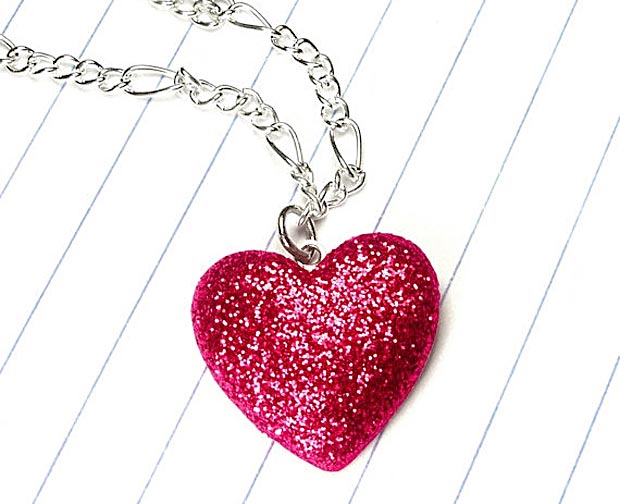 Valentine s day gifts ideas pink handmade glitter heart pendant