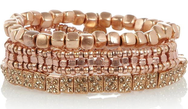Valentine s day gifts ideas pink gold stacked bracelets