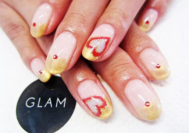 Valentines day golden french nails red hearts