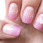 Valentines day pink glitter french nails white heart