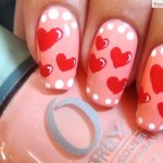 Valentines day pink nails white dots red hearts