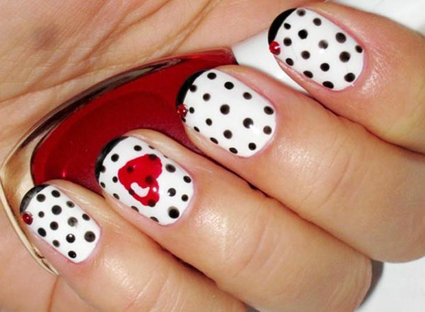 Valentines day polka dots nails red heart