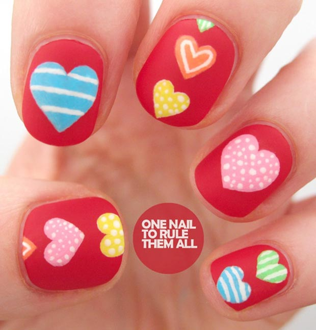 Valentines day red matte nails colorful hearts