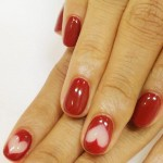 Valentines day red nails natural hearts