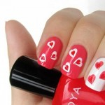 Valentines day red nails white red hearts