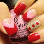Valentines day red pink nails gold shimmer red hearts