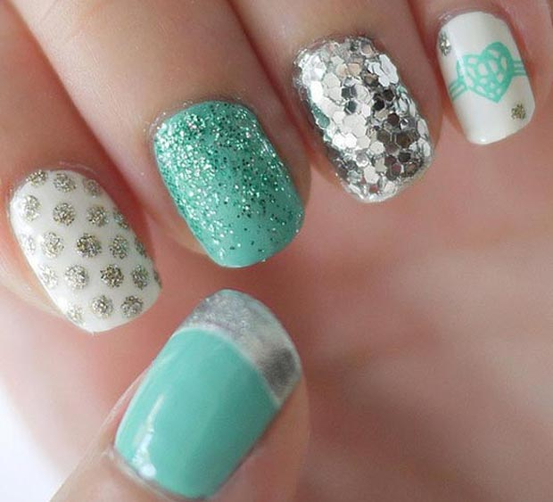 Valentines day teal white nails silver dots glitter