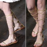 Valentino Fall 2014 Couture golden gladiator sandals