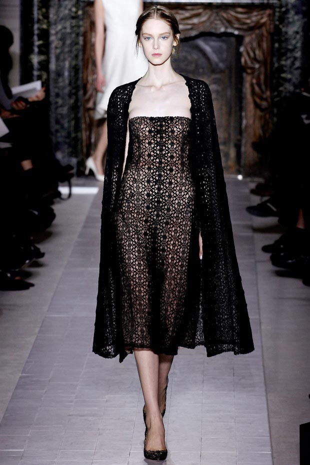 Valentino Spring 2013 Couture black lace dress and cape