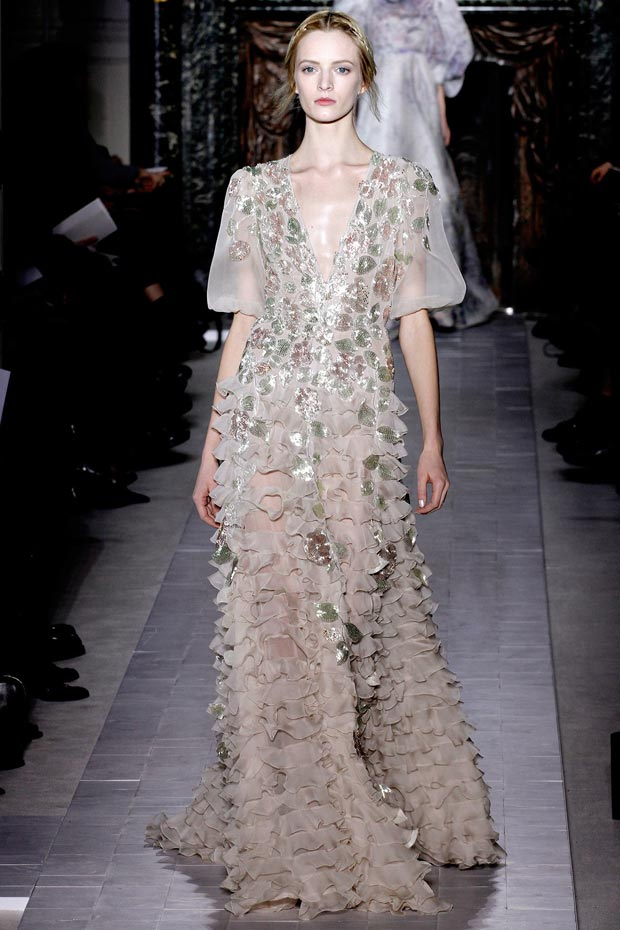 Valentino Spring 2013 Couture embroidered petals dress
