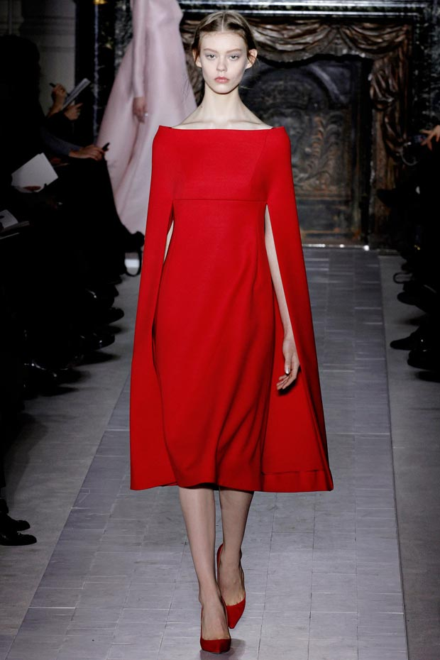 Valentino Spring 2013 Couture red cape dress