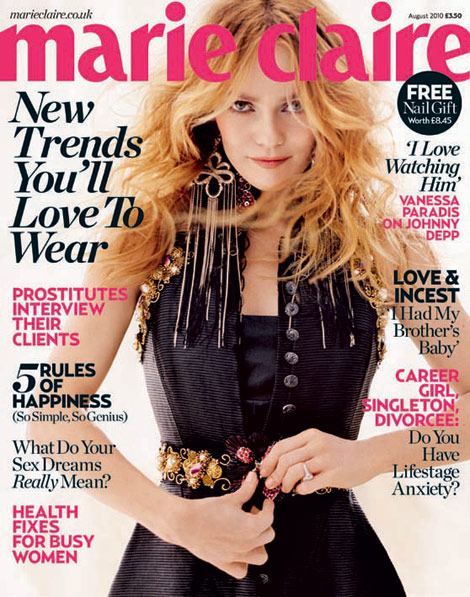 Vanessa Paradis Marie Claire UK August 2010 cover