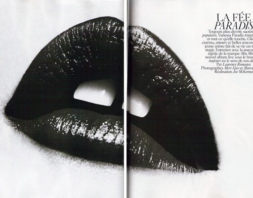 Vanessa Paradis Vogue Paris November 2008 mouth pose