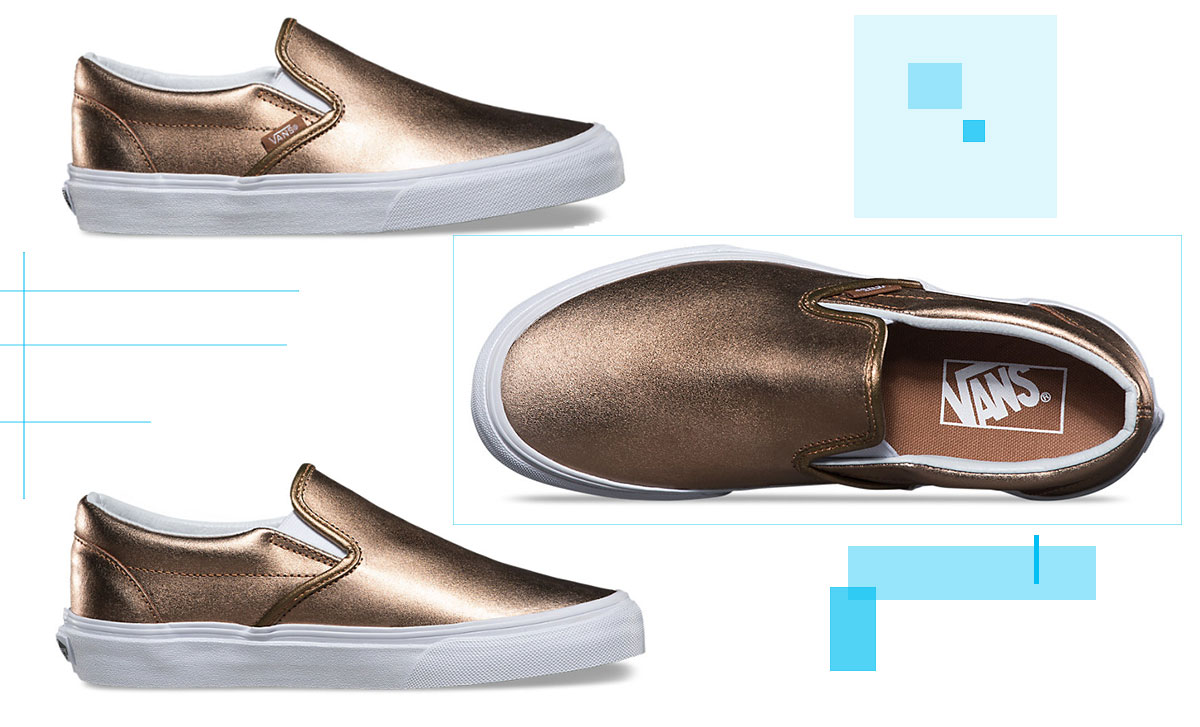 vans metallic slip on rose gold
