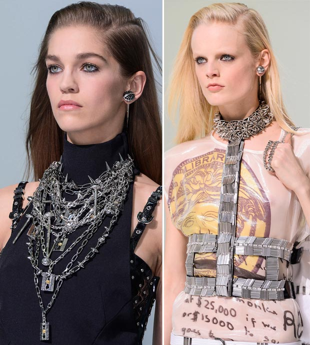 Versace Fall 2013 spiked necklaces earrings harness