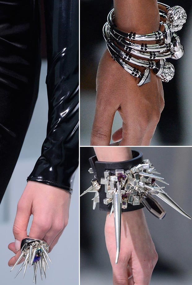 Versace Fall 2013 spiked studded bracelets rings