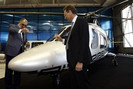 Versace Helicopter with Buyer pooring champagne