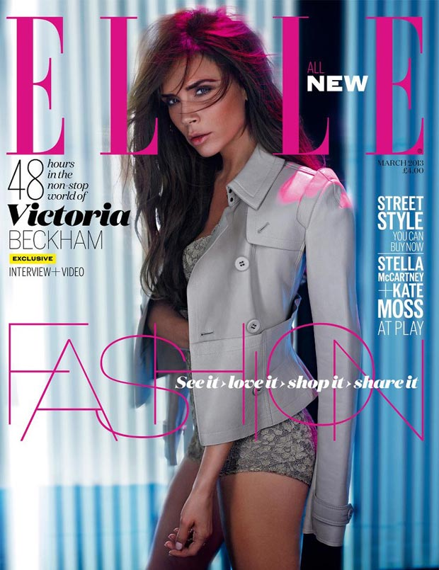 Victoria Beckham Looks Natural For Elle UK March 2013