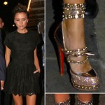 Victoria Beckham with gold Rodarte shoes by Christian Louboutin
