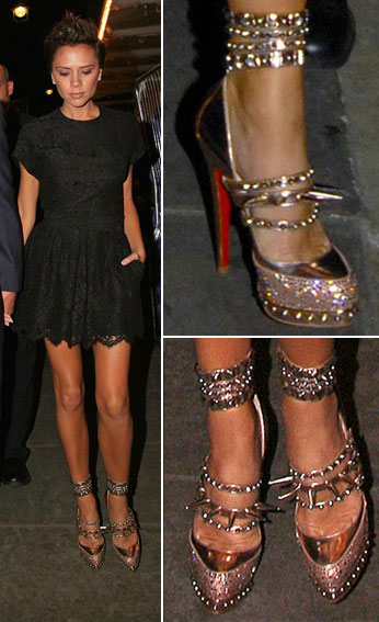 Victoria Beckham's Gold Rodarte Shoes By Christian Louboutin