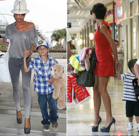 Victoria Beckham high heels with kids